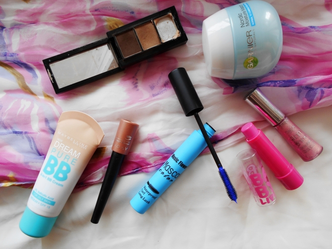 All the products I used except eye liner that somehow didn't get in the photo