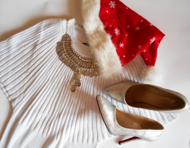 christmas outfit flatlay